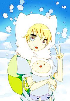 Anime Finn holding Cartoon Finn  This is..SO WONDERFUL