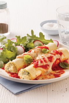 Cannelloni, Sauce Tomate, Lunch Recipes, Vegetable Pizza, Pasta Salad, Zucchini, Chicken, Vegetables, Ethnic Recipes