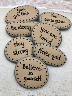 Pocket Rocks with Words of Encouragement, 7 Painted Stones for Military, Pocket Rocks for Kids — Alleluia Rocks Words Of Affirmation, Words Of Encouragement, Hand Painted Rocks, Painted Stones, Rock Painting Designs, Kindness Rocks, Stone Heart, Birthday Favors, School Gifts