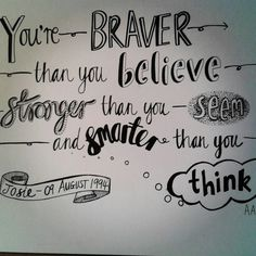 Winnie the Pooh quote and hand drawn lettering typography