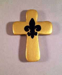 Cross Magnet - Gold with Black Fleur de lis by chutneyblakedesigns, $5.95