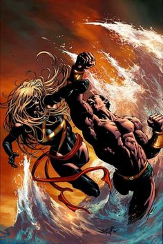 Namor The Sub-Mariner vs Ms. Marvel by Mike Deodato Jr