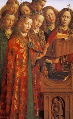 Hubert and Jan van EYCK / The Ghent Altarpiece with wings open (upper section) /  Singing Angels (detail)  1427-29  Oil on wood  Cathedral of St Bavo, Ghent