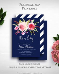 Navy Blue Glitter Baby Invite with adorable and cool watercolor flowers on navy blue background in whimsical style by Amistyle Art Studio on Etsy Printable Invitations, Birthday Invitations, Printables, Watercolor Artwork, Watercolor Flowers, Blue Glitter, Glitter Nails, Navy Blue Background, Whimsical Fashion
