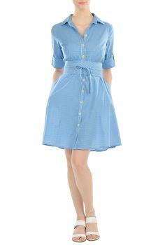 Obi Sash Belt Gingham Check Cotton Shirtdresses, Cotton Gingham Check Long Sleeve Dresses Women's sleeveless dresses - Dresses, Cocktail Dresses, Party Dresses - CL0036009 | eShakti