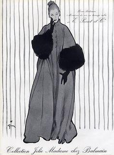 Pierre Balmain 1952 Coat & Veil Hat René Gruau Fashion Illustration