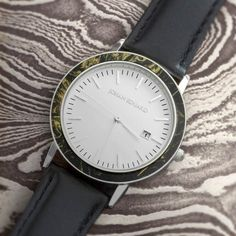 Mokume Gane Wristwatch, Silver Metal With Black Leather Strap-JE1001-8