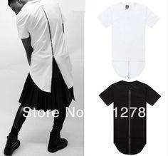 6c112640e5c7 Online Shop Men t shirt tyga cool oversized Gold side zipper hip hop  extended t-shirt tee hba jay-z casual lenther Red Plaid tee shirt XXXL