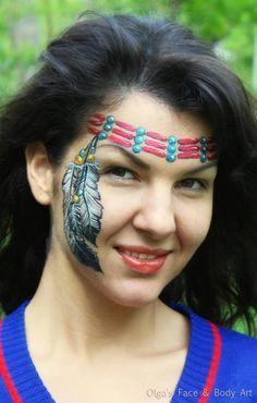 Face paint native American headband by Olga Meleca