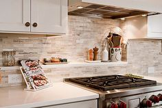 Love the backsplash with white cabinets. I'd choose a slightly darker countertop. Walker Zanger Sienna Silver Travertine kitchen backsplash with shelves Kitchen Backsplash Ideas to Update Your Cooking Space