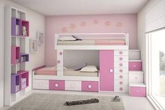 Choose from the largest collection of Kids Room Design & Decorating Ideas to add style. Discover best Kids Room interior inspiration photos for remodel & renovate. Bed For Girls Room, Girls Bunk Beds, Kid Beds, Girls Bedroom, Girl Rooms, Bedrooms, Bunk Beds With Stairs, Cool Bunk Beds, Traditional Bunk Beds