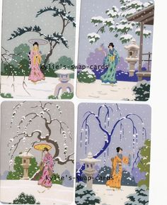 049 SET OF 4 swap playing cards MINT CONDITION Oriental Geisha Girls in the snow