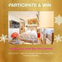 Win 1 night for 2 in our member hotel in Vienna. Vienna, Contemporary Design, Advent Calendar, Toddler Bed, Night, Furniture, Home Decor, Homemade Home Decor, Modern Design