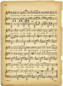 lullaby sheet music, vintage lullaby, margaret tuggle, shabby aged paper, free digital sheet music