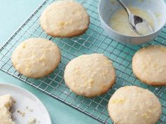 Lemon Ricotta Cookies with Lemon Glaze recipe from Giada De Laurentiis via Food Network - great way to use the lemons from your tree! Made homemade ricotta too. Lemon Desserts, Köstliche Desserts, Delicious Desserts, Lemon Recipes, Top Recipes, Dessert Recipes, Delicious Cookies, Healthy Recipes, Simple Recipes