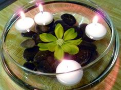 Floating candle centerpiece.