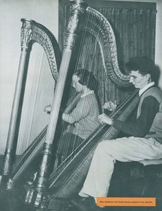 Harpists in the UO School of Music 1947. From the 1947 Oregana (University of Oregon yearbook). www.CampusAttic.com
