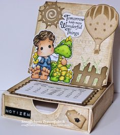 Notizzettel-Easel-Kalender-Box mit Edwin with Teo the Dragon