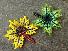 Beaded Jewelry Patterns, Beading Projects, Beaded Flowers, Beaded Earrings, Seed Beads, Jewerly, Mandala, Leaves, Necklaces