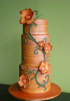Modern orange flowers cake.