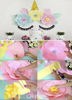 unicorn party, giant flowers, festa unicórnio, flores gigantes, flores de papel, Paula Stephania