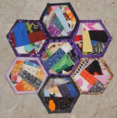 Unique Multicolored Hexagons Crumb-Quilted Trivet