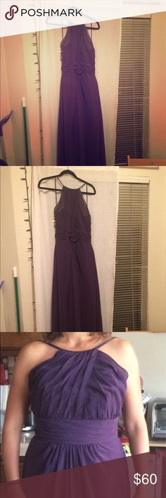 Alfred Angelo eggplant chiffon bridesmaid dress Never worn. I got this to be in a wedding but it was too big and I couldn't return it bc the company went out of business. Chiffon fabric, style 7401L, size 12 (EU 40). Eggplant color. The dresses run big - would probably fit someone who is usually size 8-10. Alfred Angelo Dresses Wedding