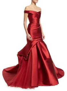 Monique Lhuillier Off-The-Shoulder Draped Trumpet Gown, Deep Red