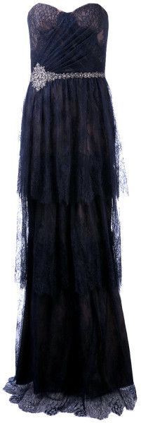 Notte By Marchesa Blue Lace and Drape Gown jaglady