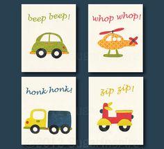 Transportation Nursery Art Print Set, 5x7, Kids Room Decor, Baby/Children Wall Art - Vehicle set, Scooter, Vespa, Car, Truck, Helicopter on Etsy, $38.22 CAD