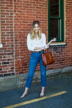Spring Style: Lace up top and vintage crop jeans