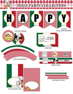 Pizza Printable Party Collection by RedVelvetParties on Etsy, $11.99 …