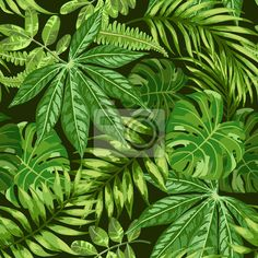 """Wall Mural """"tropical, floral, leaf - seamless exotic pattern."""" ✓ Easy Installation ✓ 365 Day Money Back Guarantee ✓ Browse other patterns from this collection!"""