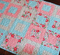 Ready to ship, aqua, pink, red, green, baby girl quilt, lap quilt, sofa quilt by TriangleQuilting on Etsy https://www.etsy.com/listing/114531911/ready-to-ship-aqua-pink-red-green-baby