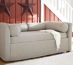 Banquette fabric? Lewis Daybed & Slipcover with Trundle #potterybarn