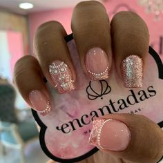 Pink Manicure, Rose Nails, Square Nail Designs, Diy Nail Designs, Fancy Nails, Bling Nails, Gorgeous Nails, Pretty Nails, Nail Art Arabesque