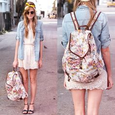 Lulus Floral Backpack, Tea And Tulips White Top