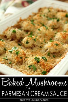 Baked Mushrooms in Parmesan Cream Sauce