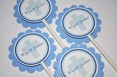 12 Cupcake Toppers Boys Baptism or First by sosweetpartyshop, $10.00