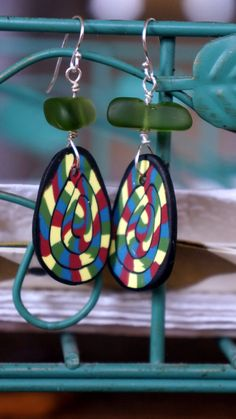 Polymer Clay Dangle Earrings Sea Glass Sterling Silver by geations