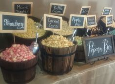 Popcorn bar with half barrels… Wedding Snack Bar, Wedding Popcorn Bar, Wedding Sweets, Corn Pie, Sweet Buffet, Fall Candy, Gourmet Popcorn, Rustic Wedding, Wedding Ideas
