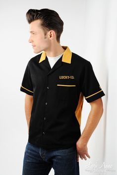 Smoking Chimp Society Mens Bowling Shirt - These American made classic button-down bowling shirts look sharp while remaining comfortable, perfect for your retro guy! This traditional style bowling shirt advertises the Smoking Chimp Society Gentlemans Lodge on the back and features piping and embroidered Lucky 13 logos at chest and sleeve.