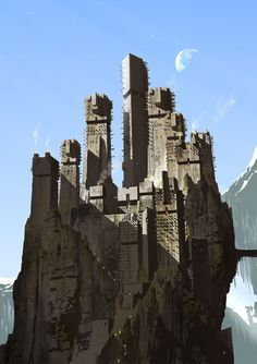 "Adam Brockbank - ""Jack the Giant Slayer"" concept art Fantasy City, Fantasy Castle, Fantasy Places, Sci Fi Fantasy, Fantasy World, Dark Fantasy, Fantasy Forest, Fantasy Dragon, Landscape Concept"