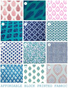 Affordable Block Printed Fabrics via Danielle Oakey Interiors | #6 Lacefield Zira Seaside