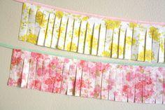 Vintage Floral Fabric Fringe Garlands  Set of 2 by SparklePower