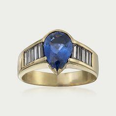Circa 1980 Vintage 2.70 Carat  Sapphire and 1.35 Carat Total Weight Diamond Ring. Size 9 (816512)   Sidney Thomas
