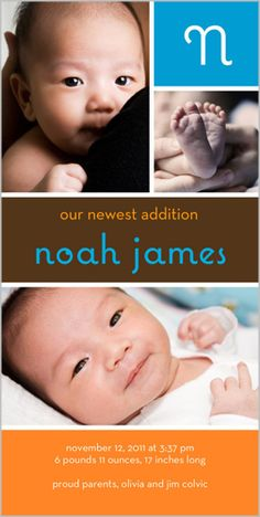 Initially Boy Photo Card by Shutterfly. New baby. Welcome your baby boy with fun fonts and three favorite photos in this modern baby announcement. Designed in colorful bright blue, cocoa brown and orange hues. Teaching Baby Sign Language, Baby Sign Language Chart, Teaching Babies, Baby Birth, Baby Boy Newborn, Baby Boys, Infant Boys, Baby Boy Birth Announcement, Birth Announcements