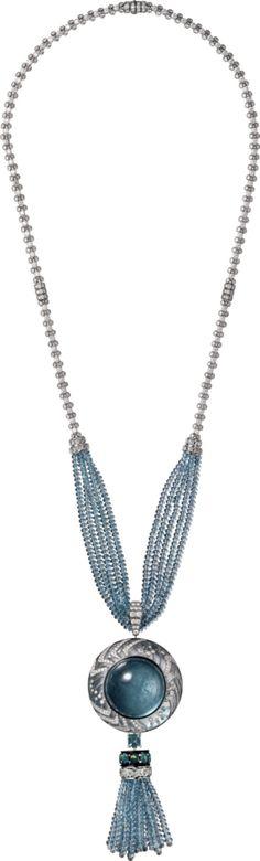 Cartier, necklace, platinum, one 152.79-carat cabochon-cut aquamarine, rock crystal, one 1.19-carat square-shaped tourmaline, tourmalines, aquamarine beads, opals, black lacquer, rose-cut diamonds, brilliant-cut diamonds, 2015