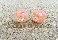 SALE Peach Gold Leaf Faceted Earrings Stud by SouthernStitchesCo