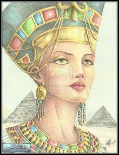 by ~Juni-Anker on Deviantart; colored pencil on watercolor paper. Nefertiti, drawing, fine art, illustration, portraits